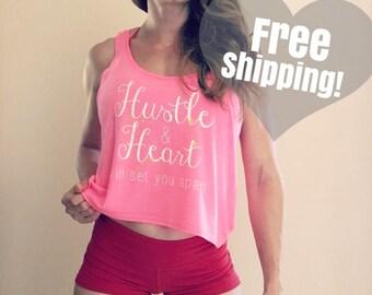 Hustle & Heart Crop Top in Hot Pink