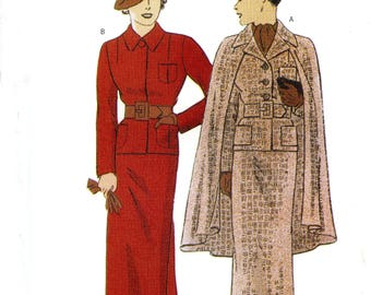 Butterick 6329 Retro '35 Vintage Look 1930s Jacket Cape Skirt Belt Size 12 14 16 Uncut Sewing Pattern 1999
