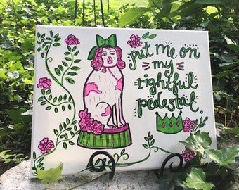 Preppy Pink & Green Sassy Staffordshire Dog Canvas