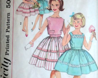 Vintage 60's Simplicity 3415 Sewing Pattern, Girls' One-Dress And Jacket, Size 12, Breast 30, 1960's Fashion, Party Dress