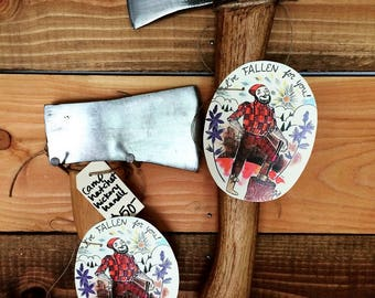 I've FALLEN for you Lumberjack Tag Perfect Gift Topper for Husband or Boyfriend