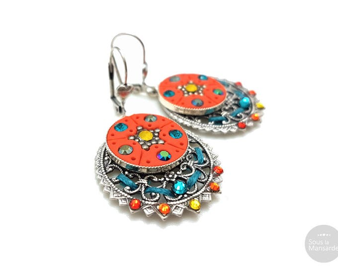 Boho dangle earrings orange, circle filigree earrings, blue, opal yellow, colorful earrings, round pendant earrings