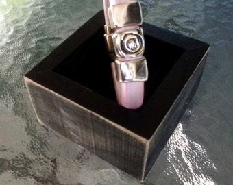Pale pink Regaliz/licorice leather bracelet