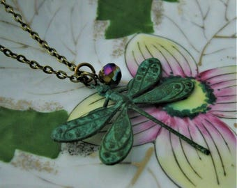 Dragonfly Necklace Come Illuminaire Verdigris Green Patina dragonfly jewelry dragonflies insect jewelry dragon fly nature jewelry garden