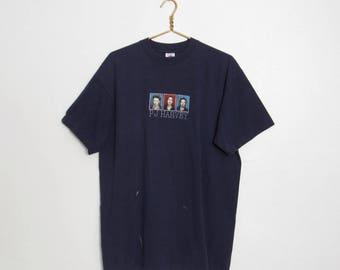 1992 PJ Harvey T-shirt / Navy Blue Cotton Tee / 90s Alternative Rock Vintage Band Shirt