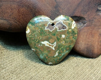 Natural Green and Orange Rhyolite Heart