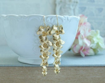 Orchid Flower Earrings Gold Floral Flowers Dangle Earring Long Orchid Earring Bridal Flower Jewelry Cascading Flowers Nickel Free Earrings