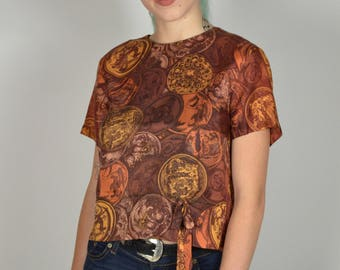 Vintage Blouse, 50s Blouses, 1950s Blouses, Brown & Orange, Short Sleeve, Office Blouse, Funky Print, Back to School,