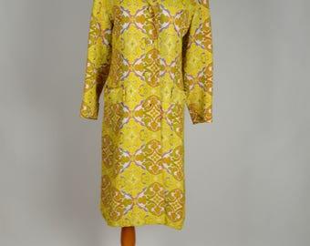 Boho Coat, Boho Style Coat, Yellow Coat, Mary Lane, Tapestry Coat, Hippie Coat, Long Coat, 1970s Coats, Size Small, Lightweight Coat,
