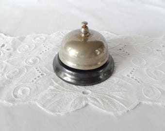 vintage service bell, hotel reception, front desk, store bell, silver and black, industrial, home decor