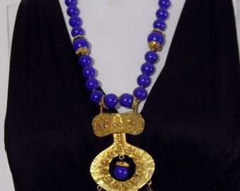 Vintage 70s boho Necklace / KJL Kenneth Jay Lane look / Statement Necklace / Vintage Designer jewelry / Chunky Necklace