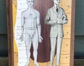 anatomy is man - an ephemera collage, layered on an old book - 758