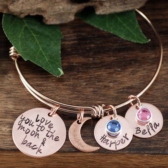 Personalized Grandma Bracelet, Love you to the Moon and Back Bracelet, Custom Bracelet, Signature Jewelry, Engraved Bracelet, Gift for Mom
