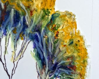 Original abstract tree drawing ~ oil pastel and ink; A4 paper