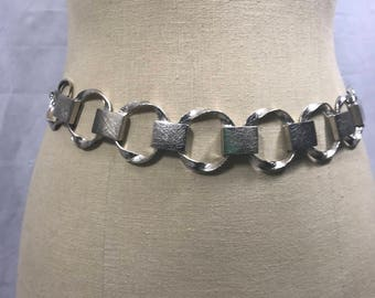 Vintage Chico's Silver Metal Chain Link Hip Belt Size S/M