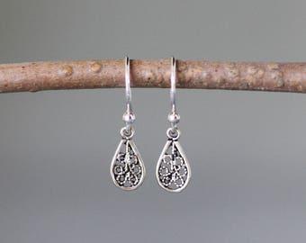 Bali Silver Earrings - Tiny Silver Earrings - Silver Filigree Earrings - Boho Silver Earrings - Silver Charm Earrings - Jewelry Gift for Her