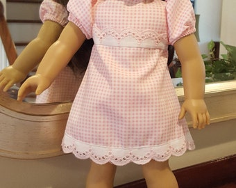 18 inch Doll Dress, Fits American Girl, Pink & White Gingham Dress with Scalloped Lace Trim