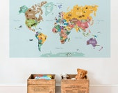 World Map Decal, Countries of the World Map, Kids Country World Map Poster,  Peel and Stick  Poster Sticker, World Map W1126
