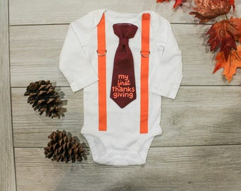 First Thanksgiving Outfit for Baby Boy. Toddler Boy Thanksgiving Outfit. My 1st Thanksgiving. Turkey Day. Chevron Tie and Suspenders.