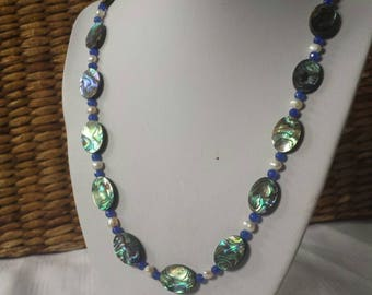Gorgeous Abalone shell Sapphire and pearl necklace