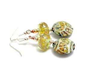 Olive Green Earrings. Sage Moss Green Glass Bead Earrings. Artisan Tribal Beads. Boho Ethnic Earrings. Lampwork Bead Jewelry.