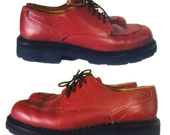 Vintage 90's oxford creepers red leather Cole Haan lace up chunky sole size 7.5 platform oxfords goth grunge preppy