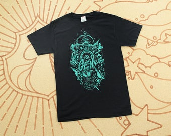 Steven Universe T-Shirt // Fight Like A Gem! // Crystal Gems Hand Screen Printed Shirt // Teal on Black // Available In Plus Sizes