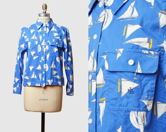 Vintage 90s Ralph Lauren Shirt Blouse Top / 1990s Nautical Button Up Top Hipster Long Sleeve Blue White Small Medium