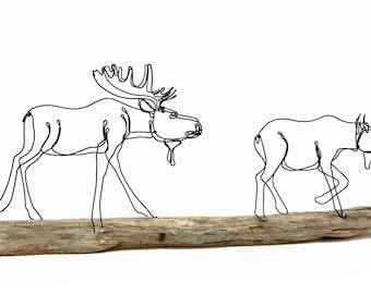 Bull and Cow Moose Wire Sculpture, Pair of Moose, Moose Art, Bull Moose, 562605498