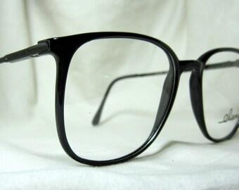 Vintage 80s Oversized Eyeglass Frames. Large Black Glasses.