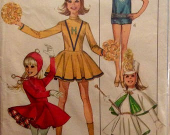 Vintage Sewing Pattern Girls Size 14 Cheerleader Majorette Figure Skating Costumes 1960's  Dress Skirt Shorts Top Hat