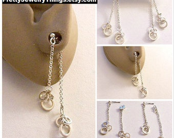 Avon Three Ring Chain Dangle Pierced Stud Earrings Silver Tone Vintage Long Cable Links Small Round Bead Surgical Steel Posts