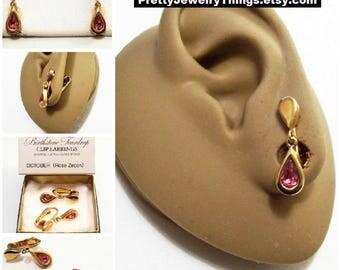 Avon Pink Rose Crystal Teardrop Clip On Earrings Gold Vintage 1977 Austrian Glass October Zircon Birthstone Glass Stone Bezel Set Wide Edge