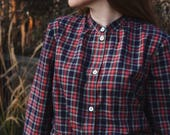 ON SALE / Ester Navy and Red Plaid Tartan Blouse