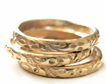 Floral Band Ring, Stacking Ring, Anniversary Gift, Minimalist Ring, Wedding Band, Handmade