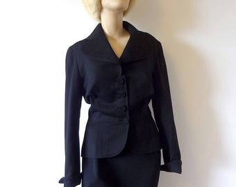 1940s-50s Wool Jacket, vintage black wasp waist suit coat, blazer, size M