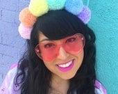 Pastel Rainbow Pom Pom Headband