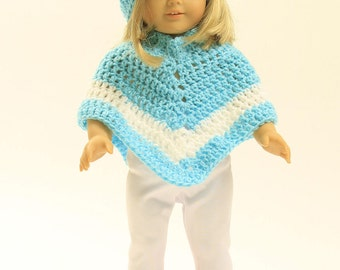 HAND CROCHETED PONCHO With Matching Hat 18 Inch Doll Outfit