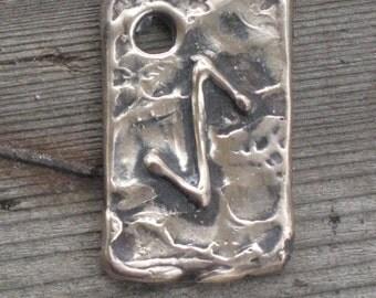 RUNES.Elder Futhark Rune Pendant of Strength and Reliability EIHWAZ.Bronze Rune Pendant.Organic Texture.Magical Rune.Magical Amulet. Viking