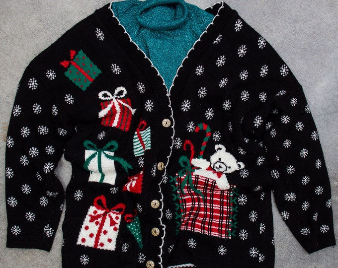 Epic Vintage Ugly Christmas Sweater 2 Piece Set Glitter Green Turtleneck + Oversized Cardigan  7CB