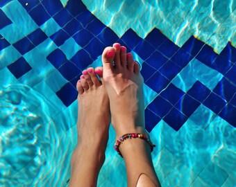 Boho anklet, seashell anklet, beach anklet, charm anklet, colourful anklet, festival anklet