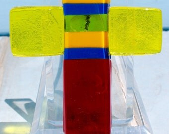 Fused glass cross: Red, Blue, yellow, white and blue horizontal stripes