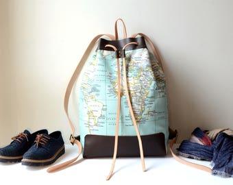 Bucket Backpack,  Leather & Canvas Bucket Bag, World Map Bag Purse, Weekender Bag, Weekender Backpack, Duffel Bag, World Map Backpack, Mint
