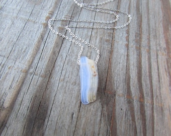 Blue Lace Agate Necklace, crazy lace agate pendant, raw periwinkle blue gemstone slab