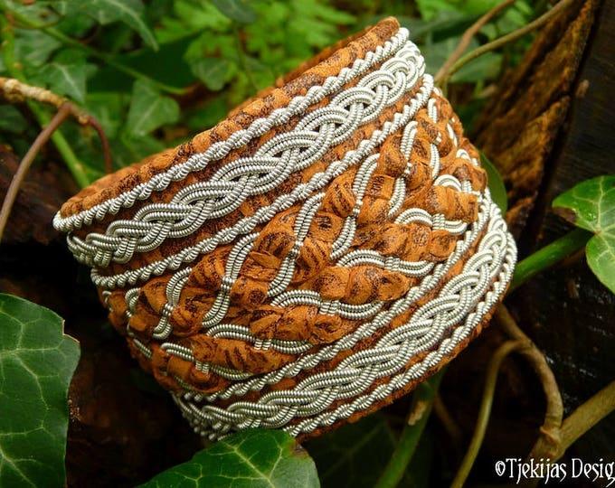 Pewter and Leather Viking Bracelet Cuff HULDRA Handmade Sami Bracelet in Brown Flowered Lambskin with Antler closure