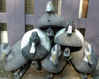 6 Vintage Duck Decoys Primitive Rustic with Weighted Keels