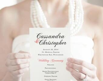 Printable Wedding Program, DIY Wedding Program, Custom Program, Printable Program, Pink, Blush, Calligraphy, Classic, Customize Colors