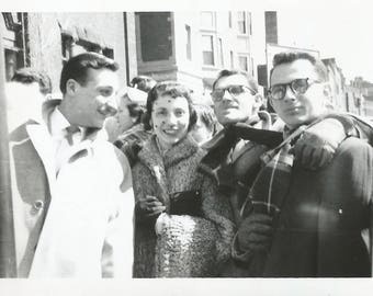 "Vintage Photo ""Homecoming Weekend"" College Buddies Pretty Girl Hat With Veil Curly Lamb Coat Found Vernacular Photo"