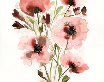 Original Watercolor Painting, Floral Painting, Fine Art, Nature, Modern Art, Bouquet, Minimalist, Garden Floral, Abstract Art, Bohemian