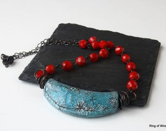 Turquoise Blue Necklace, Polymer Clay Necklace, Red Bead Necklace, Antiqued Clay Necklace, Turquoise Clay Necklace, Beaded Chain Necklace